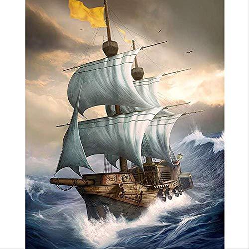5d Diamant Schilderij Geschilderde Boot Scenery Mozaïek Borduurwerk Schip Cross Stitch Diamant Teken Diamant Patroon Decoratie