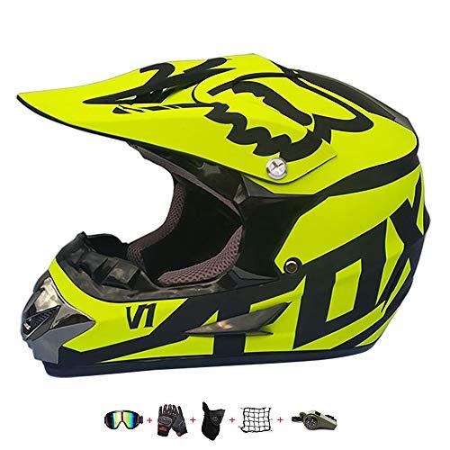 Casco Moto niño,Casco Motocross niño Moto Set con Gafas/Máscara/Guantes Casco Motocross (6unidades) Apto para Cuatro Estaciones (A, 53-54CM)