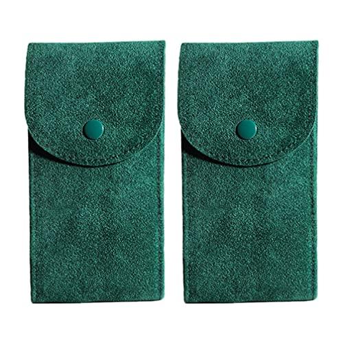 Hemobllo 2 bolsas de franela para joyas con botón de presión, portátil, regalo para collar, pulsera, anillo, reloj, pendientes, pintalabios, verde