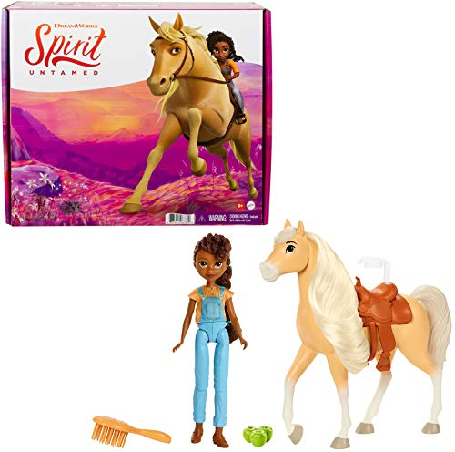 Mattel Spirit Untamed PRU Doll (Approx. 7-in) & Chica Linda Horse (Approx. 8-in) with Long Mane, Saddle, Brush, Apple Treat, Great Gift for Ages 3 Years Old & Up [Amazon Exclusive] (GYC39)