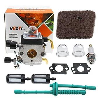 HUZTL C1Q-S97 Carburetor for FS38 FS45 FS46 FS55 KM55 HL45 FS45L FS45C FS46C FS55C FS55R FS55RC FS85 FS80R FS85R FS85T FS85RX String Trimmer Weed Eater with Air Filter Fuel Line Kit