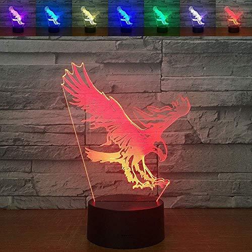 Luz de noche 3D conversión de 7 colores lámpara de mesa LED pantalla acrílica base ABS cargador USB decoración del hogar regalo para niños