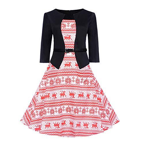 VEMOW Heißer Weihnachten Abendkleid Langarm O-Ausschnitt Cocktailkleid Casual Täglichen Druck Vintage Kleid Abend Party Kleid Herbst Winter Frühling(A-Rot, 34 DE/M CN)