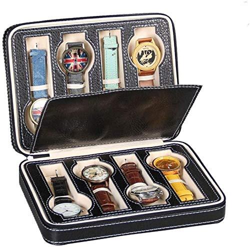 Caja de almacenamiento para reloj, 8 rejillas, para hombres y mujeres, caja de almacenamiento de piel, portátil, con cremallera, organizador de 24 x 18 x 6 cm (color: negro, tamaño: 24 x 18 x 6 cm)