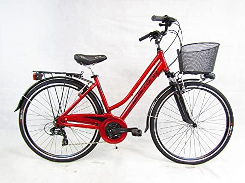 bicicletta donna bici trekking city bike 28 alluminio 21v forcella ammortizzata Daytona (rosso)