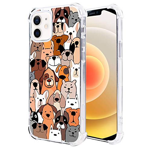 Hi Space Compatible with iPhone 12 Case & iPhone 12 Pro Case 2020 6.1 Inch, Dogs Cartoon Cute Ultra Clear Slim Transparent Flexible TPU Bumper Shockproof Protective Cover