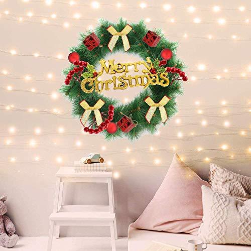 Sayala Weihnachtskranz | Weihnachtskränze | Künstlicher Türkranz Weihnachten Wannenkranz Künstlich Weihnachten Deko Kranz Weihnachtsgirlande