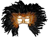 Forum Novelties mens Elaborate Feather Venetian Costume Mask, Gold/Black, One Size US
