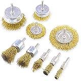 Cepillos de alambre - 9 piezas Juego, con rueda de alambre de vástago de 0.25 pulgadas para eliminar el óxido/corrosión/pintura - Rotura de alambre reducida y vida útil más larga