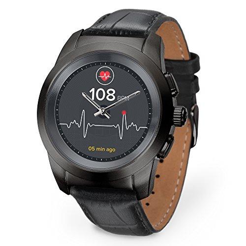 MyKronoz ZeTime Premium hybride Smartwatch 39mm mit mechanischen Zeigern über einen runden Farbtouchscreen – Petite Matt Schwarz / Schwarz Geprägtes Leder