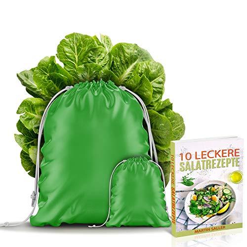 BEXEED 2er Set Obst-Gemüse-Beutel wiederverwendbar - hält Salat Kräuter 5X länger frisch - inkl. eBook 10 leckere Salatrezepte - Innovative 3-in-1-Funktion - Frisch-Halte-Beutel
