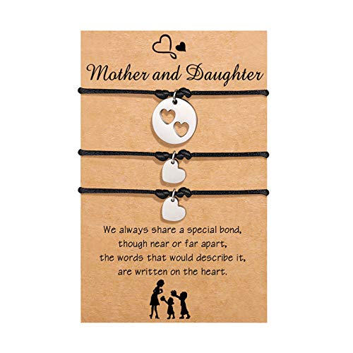 Mother Daughter Bracelet Set for 3 Matching Mom Mommy And Me Cutout Heart Bracelet Mother's Day Jewelry Gift from Daughter