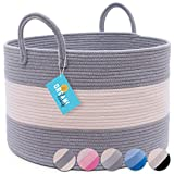 OrganiHaus XXL Cotton Rope Basket | Wide 20' x 13.3' Blanket Storage Basket with Long Handles | Decorative Clothes Hamper Basket | Extra Large Baskets for Blankets Pillows or Laundry (Gray)