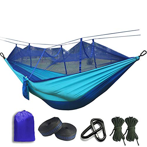 Parachute Mosquito Net Hammock With Black Hooks For Outdoor Camping Tent Using Sleeping Blue and Light blue
