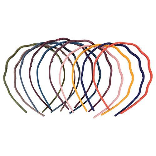 FRCOLOR 10Pcs Diademas Onduladas con Dientes Aros de Plástico para El Cabello Diademas para La Cabeza Ordinarias (Estilo Mixto)