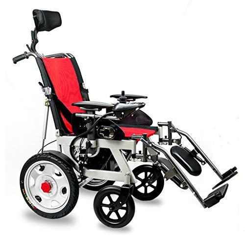 Silla de ruedas electrica Plegable Motor Dual de 500 W Silla de Ruedas Ajustable con Respaldo Alto Manual eléctrico Controlador Inteligente