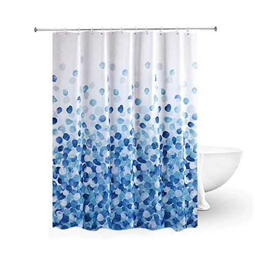 OB Blaues EIS Duschvorhang, Duschvorhang aus Polyester,Anti-Schimmel, Wasserdichter Shower Curtain Anti-Bakteriell,mit 12 Duschvorhangringen & Beschwertem Saum (Blaues EIS, 180 x 180 cm)