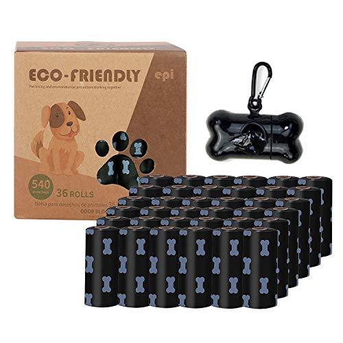 Aischens Sacchetti per escrementi del cane, Sacchetti bisogni Cacca, 540 pezzi, con 1 Dispenser, Extra Spessi, Forti e 100% Prova di perdite, Flessibile e Resistente, Inodore (Nero)