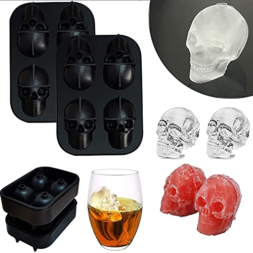3D Skeleton Skull Ice Mold,4 Grid Silicone Ice Cube Tray, Whisky Fai da te, Cocktail, Cioccolato, Gelatina, Vassoio per Cubetti di Ghiaccio, Stampo per Cubetti di Ghiaccio