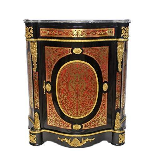 Casa Padrino Barock Boulle Kommode Schwarz/Gold/Rot mit Marmorplatte 80 x H105 cm - Möbel Schrank Sideboard