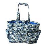 Floral Needle Bag Knitting Bag Yarn Storage Tote (Peacock Blue)