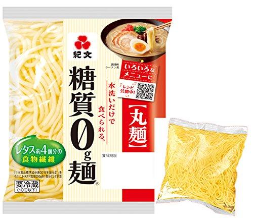 紀文 糖質0g麺 (丸麺) 16個 (オリジナル こんにゃく麺 1個付)クール便発送