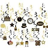 SUNBEAUTY Silvester Deko 2022 Neujahr Happy New Year Folie Spiralen Dekoration Deckenhänger