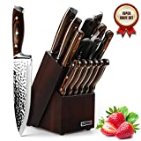 Knife Set, Elegant Life 15-Piece Kitchen Knife Set with Block Wooden, Manual Sharpening for Chef...