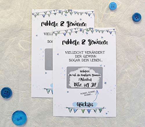Rubbelkarte für Taufpate fragen, Karte zum Rubbeln, Willst du Patentonkel sein, neutral, blau