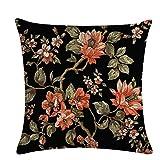 Kaned Fundas de almohada con diseño de mariposa, diseño de flores, color negro