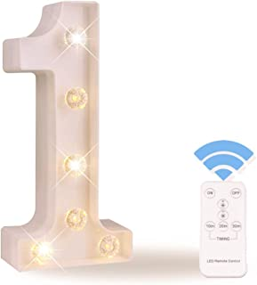 Obrecis LED Number Lights White Marquee Letters Light Up Sign with Diamond Bulbs Remote Control Timer Dimmable Birthday Party Anniversary Wedding Decoration, Number 1