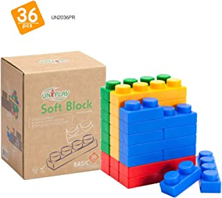 UNiPLAY Basic Soft Building Blocks — Cognitive Development Toy, Educational Blocks, Interactive Sensory Chew Toy for Ages ...