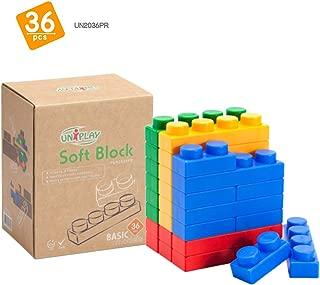 UNiPLAY Soft Plastic Stacking Building Blocks - Baby Developmental Toy - 36-Piece Multi-Color Set