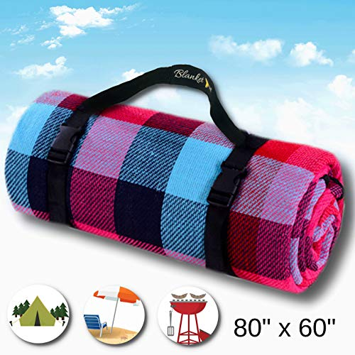Large Waterproof Outdoor Picnic Blanket Sandproof for Hiking Travelling Grass and Indoor Purple Red Blue