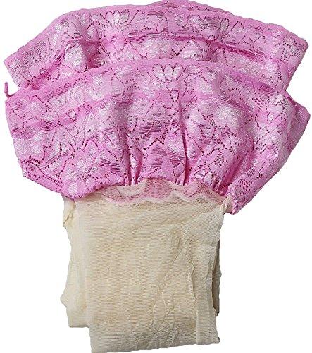 Unbekannt Dünne halterlose Strümpfe transparent stretch Blumenspitze Brautstrümpfe Hochzeit 15 den Farben S-XXXL (3XL/4XL - 7/8, creme-rosa)