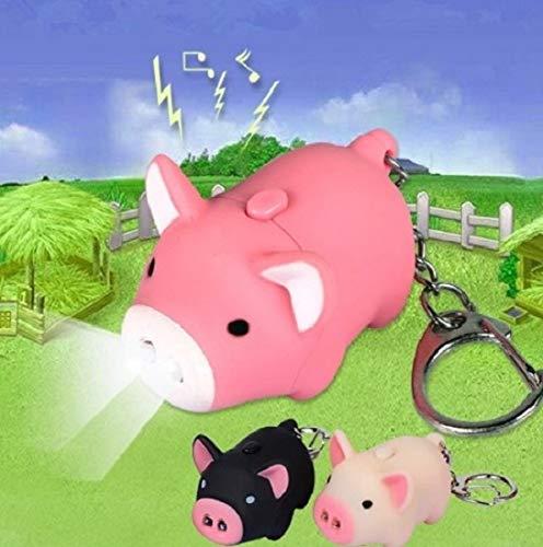 Familienkalender Schweinchen Schlüsselanhänger Figur mit LED und Sound Schwein rosa Sau | Ferkel | Geschenk