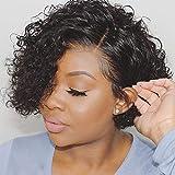 VIPbeauty curly wave Perruque Lace Frontale Remy Cheveux Perruques 150% Densite Bresilien Naturel Couleur Naturel Pour Femme 10 Pouces