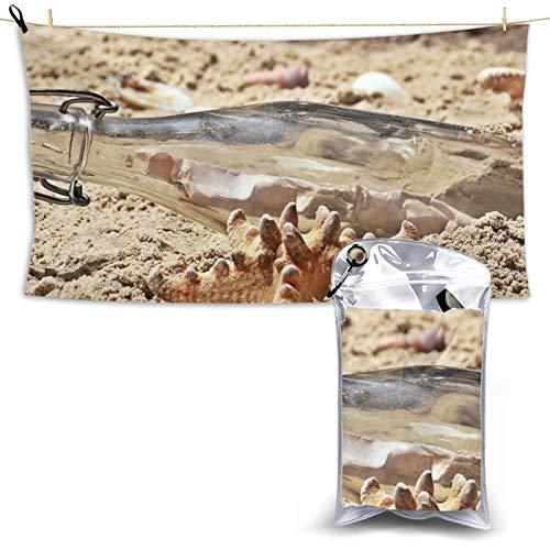 Toalla de playa de secado rápido con mensaje de botella de microfibra, ligera, súper absorbente con una bolsa de transporte para gimnasio, camping, piscina