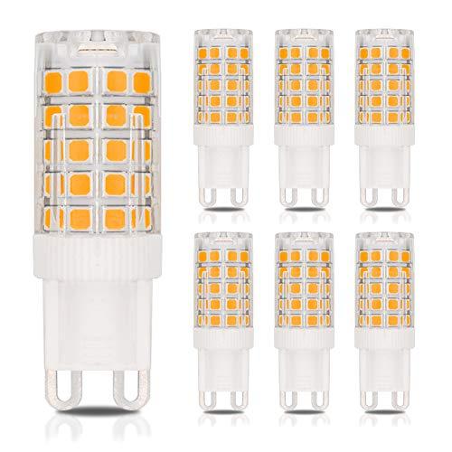 Dimmbar G9 LED Lampen Kein Flackern 4W ersetzt 40W Halogenlampen warmweiß 3000K 350 lumens 360°Abstrahlwinkel AC 220-240V(6er-Pack)[MEHRWEG]