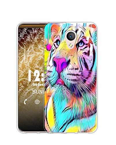 Sunrive Kompatibel mit Meizu M5 Note Hülle Silikon, Transparent Handyhülle Schutzhülle Etui Hülle (Q Farbiger Tiger)+Gratis Universal Eingabestift MEHRWEG