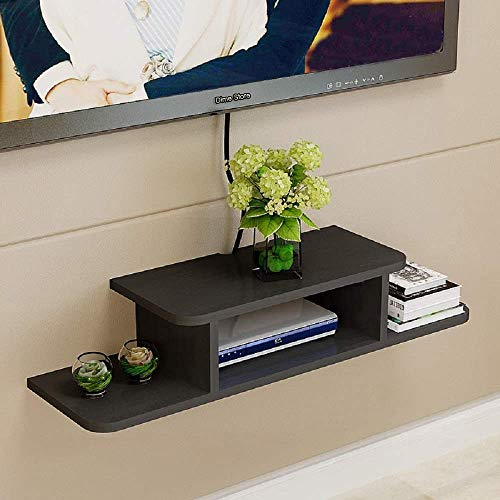 Online Craftbuzz Set Top Box Holder Wall Shelf Wall Mount Set Top Box Stand (Standard, Black)