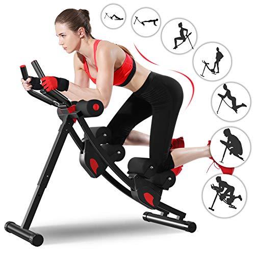 Ab Maschine, Enow Faltbare Bauchmuskeltrainer für Zuhause, Höhenverstellbare Profi AB Trainer, Fitness Core und Abdominal Trainer für Arme/Beine/Gesäß, LCD Display für Das Cardio Training zu Hause