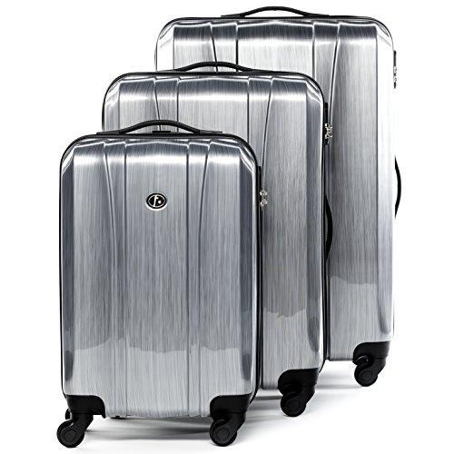 FERGÉ® Set di 3 valigie viaggio Dijon - leggero bagaglio rigido dure da 3 ABS & PC duro tre pz. valigie con 4 ruote (multidirezionali 360°) argento