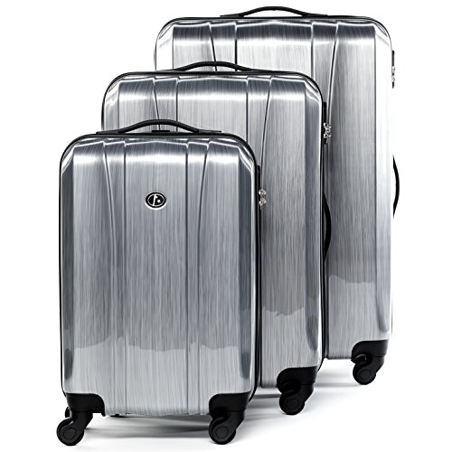 FERGÉ Kofferset Hartschale 3-teilig Dijon Trolley-Set - Handgepäck 55 cm, L und XL 3er Set Hartschalenkoffer Roll-Koffer 4 Rollen Silber