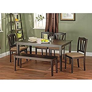 "Seats 6 people Includes table, bench and 4 chairs Upholstered chair seats MDF, rubberwood, microfiber and foam construction Assembly required and it will arrive in 2 boxes Table dimensions: 59.5""L x 35.5""W x 29""H Chair dimensions: 17.32""L x 16.5""W x ..."