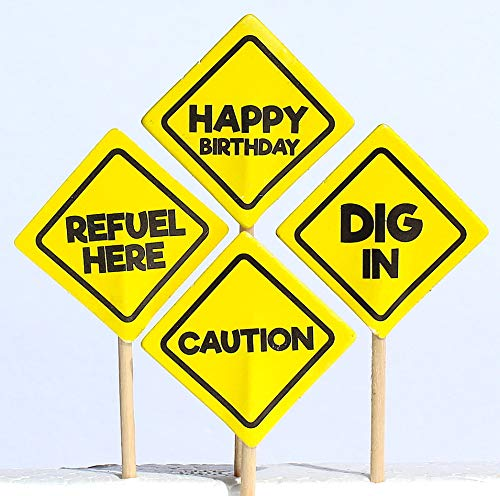 Jayd Products, 36 Cupcake Toppers, Construction Party Caution Signs