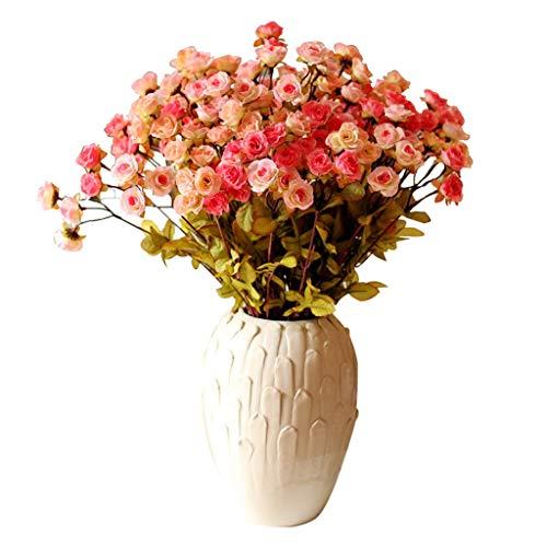 GCX Natural Aceite de la Flor Falsa Pintura-como la simulación de Rose Ramo decoración del florero del Conjunto Sala Falsa Floral Calentar (Color : Multi-Colored)