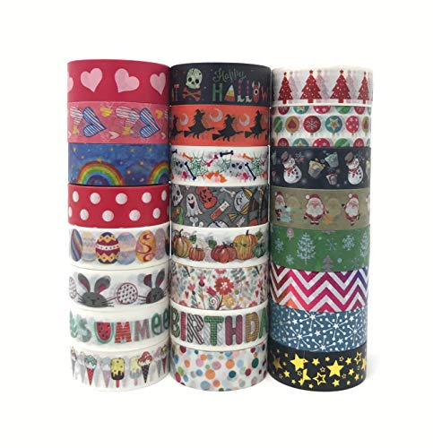 24 Rolls Holiday Washi Tape Set   Covering Celebrations in All Four Seasons   Multi-Purpose, Great for Adults and Kids; Gift Wrapping, DIY Art & Crafts Projects, Scrapbook, Journal