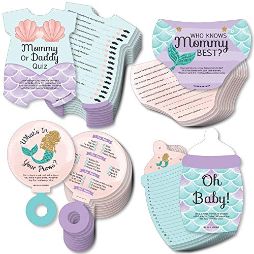 Big Dot of Happiness Let's Be Mermaids - 4 Baby Shower Games - 10 Cards Each - Who Knows Mommy Best, Mommy or Daddy Quiz,What's in Your Purse and Oh Baby - Gamerific Bundle