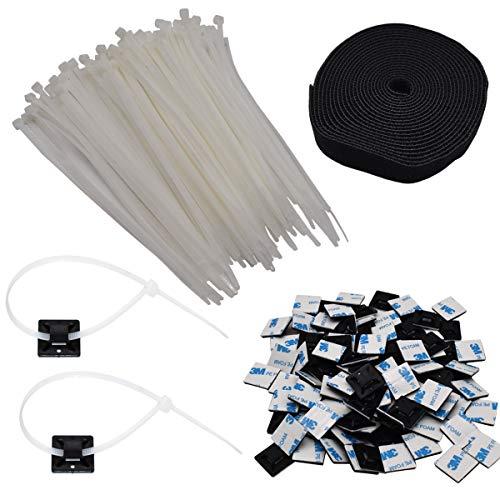 Xiuyer 100 Piezas Atadura de Cables Multiusos 4,6mm x 250mm con 25x25mm...